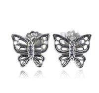 Wholesale hollow sterling silver heart earrings for sale - Group buy Genuine Sterling Silver Hollow butterfly earrings Fit Women Bead Charm Europe Fashion Diy Jewelr