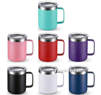Wholesale vacuum handling resale online - 12oz Mugs Tumbler Stainless Steel Coffee Mugs With Handle Double Wall Vacuum Insulated Tumbler Travel Cups Coffee Thermos with Lids