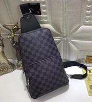 göğüs torbaları toptan satış-yeni siyah ekose AV. ÇANTA ÇANTASI D.GRAP. N41719 seyahat çantası MENS çapraz vücut meme omuz çantası Hakiki deri göğüs çantası