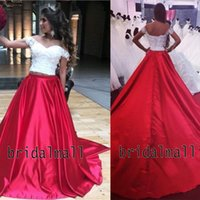 Wholesale ball top water resale online - White Appliqued Lace Top Two Pieces Prom Dresses Off the Shoulder Quinceanera Ball Gowns Lace Up Back Elegant Formal Party Dress Pageant