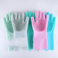 Wholesale clean green cars for sale - Group buy Magic Glove Household Clean Cook Pet Car Silicone Mittens Soft Kitchen Necessary Pink Green Blue Dish Washing Brush sfD1