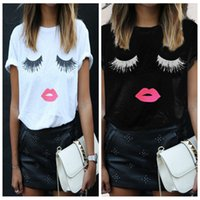 Wholesale red lips clothing for sale – custom New fashion women s casual top cute printed eyelash red lips short printed T shirt O neck lady clothing plus size S XL