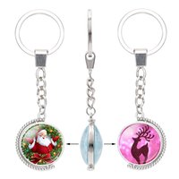 Wholesale movie glasses for sale - Group buy 2019 Christmas Glass Cabochon Double Sides Keychains Reindeer tree Santa Claus Bell snowman Pendant Rotable Key Chain Jewelry accessories
