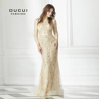 robe de soirée longue en tissu perlé achat en gros de-Real Photo sirène manches longues en dentelle tissu pleine perlé Prom robe à la main formelle longue robe de soirée