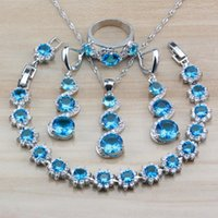 Wholesale long silver costume jewelry resale online - 925 Silver Party Jewelry Sets With Natural Stones Sky Blue CZ Dubai Women Costume Sets Long Earrings Necklace Bracelet Ring