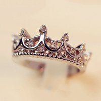 Wholesale ring crown shape resale online - Vintage Silver Crystal Drill Hollow Crown Shaped Queen Temperament Rings For Woman Personality Wedding Engagement Gifts