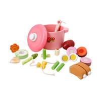brinquedo de corte de madeira venda por atacado-Cozinha Conjunto de Cozinha Brinquedo De Madeira Pretend Play Toy Corte Crianças Desenvolvimento Precoce Brinquedos Educativos