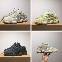 kanye west black оптовых-Adidas Yeezy 500 Desert Rat Blush Mens Дизайнерская обувь Kanye West 500 Blush Supermoon Желтый Утилита Черная кожа коровы Спортивная обувь 36-46