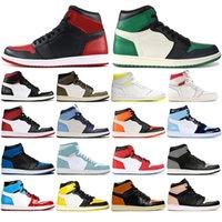 calcetines de baloncesto al por mayor-Nike AIR Jordan 1 con conexión calcetines 2020AirJordánZapatos de baloncesto del Mens de lujo retro 1s 1 Shattered tablero trasero Sin Miedo = Sport zapatillas de deporte de tamaño