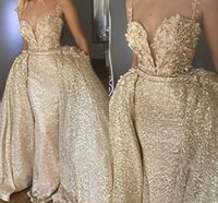 Wholesale sequin bead mermaid formal for sale - 2019 Sparkle Champagne Sequin Beads Evening Dresses Formal With Detachable Skirt Sexy Spaghetti Straps Floor Length Prom Dress BC0846
