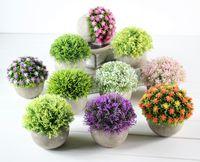 salon de fleurs artificielles achat en gros de-Vert Fleurs Artificielles Boule Faux Fleur Herbe Balle Simulation Plante Verte Salon Bureau Décor 16 Styles