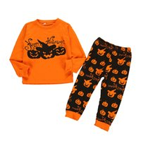 camisas casuais pretas para meninos venda por atacado-Retail Halloween Boy Define 2pcs trajes criados Long Sleeve abóbora letra T-shirt Black Devil desenhos animados Pant Sportwear Casual crianças treino