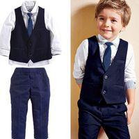 camisa de corbata para niños al por mayor-Gentleman Kids Toddler Infant Baby Boys Traje formal Tops Camisa Chaleco Pantalones de corbata 4PCS ropa conjunto