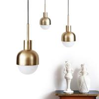 ingrosso bulbo di sospensione-Lampadario in rame per sala da pranzo in stile nordico Danimarca Loft Style Bar Mini sospensione Apparecchio con lampadina E27 LED