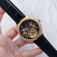 relógios mens grande banda venda por atacado-Marca mens relógios de grife de luxo Dial Carving 42mm Rose Gold relógio de grife de aço inoxidável automática para homens Big Bang relógio