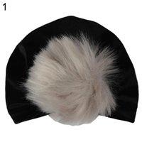 kız başlıklar fotoğrafları toptan satış-Toddler Erkek Bebek Kız Ponpon Pleuche Beanie Şapka Fotoğraf Prop Elastik Türban Kap