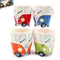 el boyalı şarap toptan satış-Vintage Seramik Kupa El Boyama retro otobüs kupalar Karikatür Çift Katlı şarap Kupalar Kamp otobüs kupa Kahve bira bardağı A04
