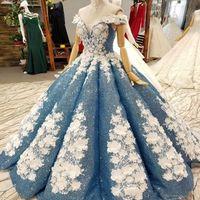 fabulosos vestidos de baile venda por atacado-Fascinante Fabulous vestido de baile Quinceanera vestidos Sparkly Full lantejoulas Handmade flores fora do ombro até o chão pageant vestidos de noiva