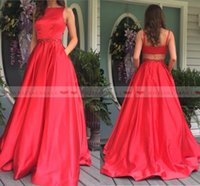 Wholesale navy pocket squares online - 2019 Cheap Red Satin Long Prom Dresses With Pockets Beading Pearls Sash Formal Party Gowns Sexy Backless Evening Dress Pageant Celebrity