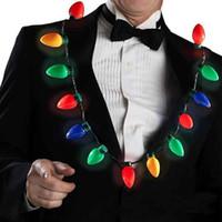 ingrosso centerpieces acrilici per matrimoni-9 lampadina LED Light Bulbs collana lampeggiante Torcia luminoso Decorazioni di Natale Partito Fascino Favor rifornimenti regalo