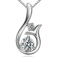 Wholesale mermaid pendant sterling resale online - Top Grade Diamond Pendant Necklace Cubic Zircon sterling silver Little Mermaid Pendant necklace For Wedding Party Women Jewelry