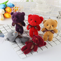 Wholesale wedding stuffed animals online - Lovely Doll Toy Soft Love Bowknot Bear Stuffed Animal Plush Toys For Bag Pendant Multi Colors my BB