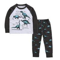 ropa de niños adolescentes al por mayor-Dinosaurio Bedgown casa la ropa de los niños Ropa para Niños Letter Pantalones niños Impreso pijamas del niño historieta de los muchachos adolescentes camisón Establece 06