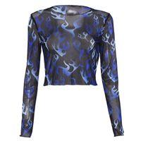 женская теннисная майка оптовых-Fashion Women Mesh Sheer Top Long Sleeve Floral Printed Transparent T-Shirt Crop Tops Ladies Clothes