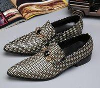 zapatos de vestir de hombre de cuero gris al por mayor-Hombres zapatos de lujo zapatos de vestir de los hombres que tejen zapatos Oxford formales grises zapatos de cuero del negocio de los hombres de TD20 novio de la boda del zapato del partido