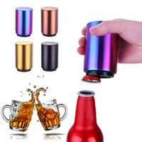 Wholesale beer cap opener resale online - Stainless Steel Bottle Opener Beer Cap Opener Automatic Push Down Magnetic Beer Openers Bar Wine Opener IIA90