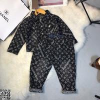 ingrosso jeans moda per ragazzo-Set di giacche da ragazzo per bambini abiti firmati cappotto in denim + jeans 2 pezzi cappotto in denim lavaggio classico moda autunno set dimensioni 90-130 cm