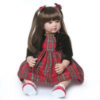 Wholesale long hair dolls resale online - Real Shot Spot Reborn Toddler Artificial Cute Princess Long Hair Doll High End Gift Cm