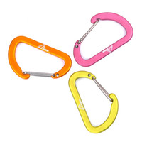 Wholesale carabiner screw for sale - Group buy 4cm Flat Type Mountaineering Buckle Outdoor Camping Hanging Hook Aluminum Alloy Steel Wire Lock Screw Security Carabiner Hiking kp N1