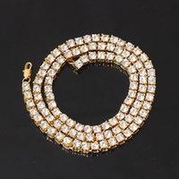 хип-хоп длинные ожерелья оптовых-Модные мужские Серебристый Цвет 1 Строка Iced Out Имитация Big Bling Rhinestone Длинное Ожерелье Хип-Хоп Стиль