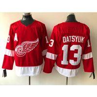 hokey forması pavel toptan satış-Erkek Detroit Red Wings Pavel Datsyuk Redwings Deplasman Kırmızı Beyaz Hokeyi Jersey Tüm oyuncular olarak