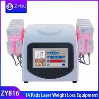 14 pad diodo laser lipo máquinas al por mayor-14 Almohadillas Láser Equipo de pérdida de peso Máquina de adelgazamiento con láser de diodo Eliminación de celulitis Reducción de quema de grasa Lipo Láser Láser delgado Máquina