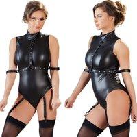 tulum artı bayraklar kadın satışı toptan satış-Sıcak Satış Sexy Lingerie Kadın Bodysuit Artı Boyutu PU Lateks Fermuar Açık Kasık Tulum Açık Büstü Kulübü Kutup Dans Kadın giymek