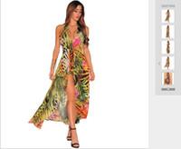 boş etekler toptan satış-Yaz Avrupa ve Amerikan Dış Ticaret Moda Yeni kadın Ince Baskılı Eğlence Elbise Seksi Plaj Etek