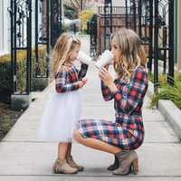 Wholesale clothing styles mom daughter resale online - Family Long Sleeve Plaid Dresses Spring Mother Daughter Dress Autumn Matching Outfits Moms Children Clothes AAA1596