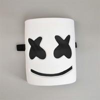 pvc karikaturmaske großhandel-Elektrische Silbe DJ Marshmello Maske PVC Weiße Farbe Cartoon Vollgesicht Halloween Cosplay Kopfbedeckungen Bar Musik Masken 8rh E1