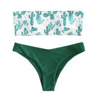 cuecas grátis para adultos venda por atacado-Mulheres Adultos Fino de Férias de Poliéster Dividir Cactus Print Maiô Sexy Bikini Set Com Breve Verão Fio Livre