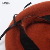 boina elegante al por mayor-Moda-CAVME señoras del invierno de las lanas de la boina sombreros de los casquillos de las mujeres elegantes de la moda AdjustaCap Femme 56-58cm sólido Tamaño 80g