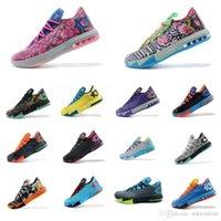 kevin durant ayakkabı çiçek toptan satış-Ucuz Mens ne KD 6 vi düşük basketbol ayakkabı tops Teyze Inci Pembe BHM MVP Mavi Altın Çiçek Kevin Durant KD6 satılık sneakers çizmeler kds