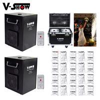 V-Show 2pcs With Flightcase And 20 Bags Powder 750W Cold Spark Firework Machine DMX IR Remote Control Fountain Fireworks For Wedding