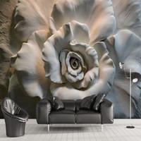 розовые цветы оптовых-Пользовательский Mural обои стена Картина 3D Relief Rose Flower обои для гостиной Диван ТВ фоне стены Mural Home Decor 3D