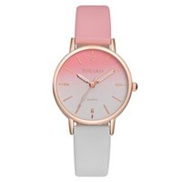 Wholesale batteries for scale resale online - Luxury Women Watches Casual Leather Belt Round Quartz Wrist Watch Gradual Color Scale Convex Watch For Ladies Gift Lover