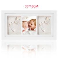 aufzeichnungsrahmen großhandel-Handabdruck Baby Footprint Kit Holz Speicher Home Decor ungiftig Ton Geschenk Wachstum Rekord Fotorahmen