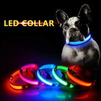 Wholesale led glow dog leash resale online - Nylon LED Pet Dog Collar Lighting Night Safety Warning Anti lost LED Glowing Collar Pet Dog Leash S M L XL HHA878