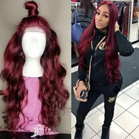 Wholesale colors for ombre hair resale online - Body Wave J Colored Lace Front Human Hair Wig For Black Women x6 Ombre Burgundy Remy Brazilian Lace Front Wig With Baby Hair