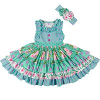 Wholesale vintage children clothing resale online - New Summer Girl Dress Children Sleeveless Striped Floral Printed Ruffle Cotton Dresses with Headband Vintage Beach Kids Clothes